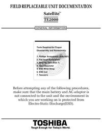 Serviceanleitung Toshiba Satellite TE2000