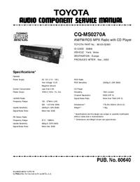 Instrukcja serwisowa Toyota CQ-MS0270A