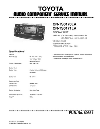 Руководство по техническому обслуживанию Toyota CN-TS0171LA