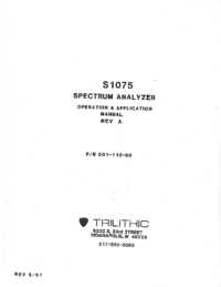 Manual del usuario Trilithic S1075