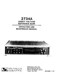 Servizio e manuale utente Valhalla 2734A