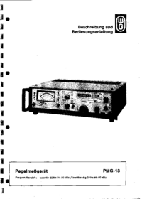 Service and User Manual Wandelgoltermann PMG-13
