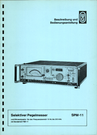 Service-en gebruikershandleiding Wandelgoltermann SPM-11