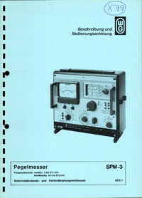 Service and User Manual Wandelgoltermann SPM-3