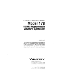 Service and User Manual Wavetek 178