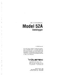 Manuel de l'utilisateur Wavetek 52A