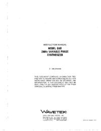 Руководство пользователя Wavetek 650