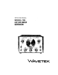 Servicio y Manual del usuario Wavetek Model 135