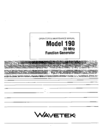 Service and User Manual Wavetek 190