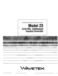 Service and User Manual Wavetek 23