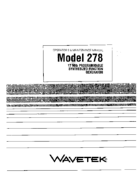 Service and User Manual Wavetek 278