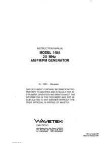 User Manual Wavetek 148A