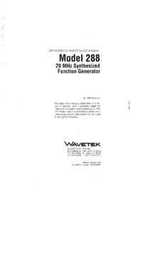Service-en gebruikershandleiding Wavetek 288