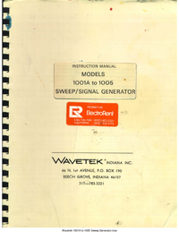 Service and User Manual Wavetek 1003