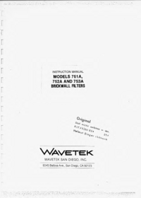 Service and User Manual Wavetek 753A