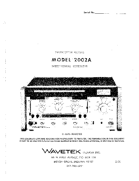 Servicio y Manual del usuario Wavetek 2002A