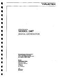 Gegevensblad Wavetek 2407