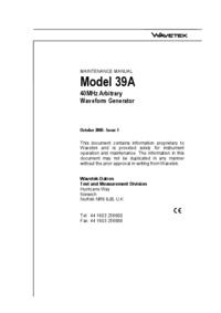 Instrukcja serwisowa Wavetek 39A