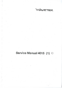 Service Manual Wavetek 4015