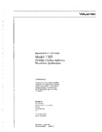 User Manual Wavetek 1385