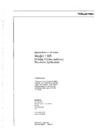 Instrukcja obsługi Wavetek 1385