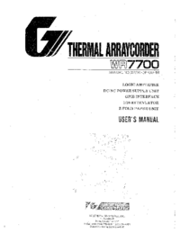 User Manual WesternGraphitec WR7700