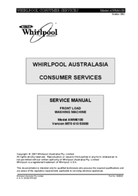 Руководство по техническому обслуживанию Whirlpool AWM6100