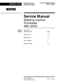 Service Manual Whirlpool AWL 643/2