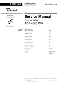 Manuale di servizio Whirlpool ADP 4540 WH
