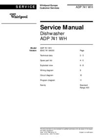 Руководство по техническому обслуживанию Whirlpool ADP 741 WH
