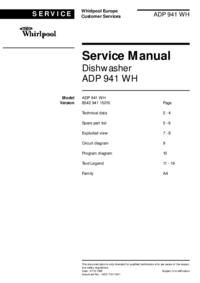 Servicehandboek Whirlpool ADP 941 WH