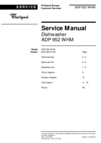 Manual de servicio Whirlpool ADP 952 WHM