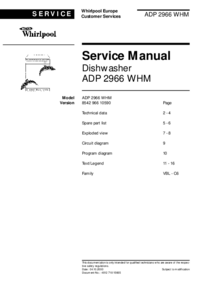 Manual de servicio Whirlpool ADP 2966 WHM