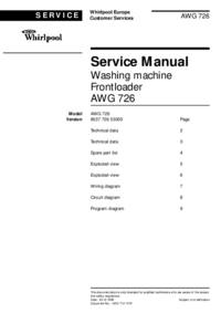 Manual de servicio Whirlpool AWG 726 version (8537 726 53000)