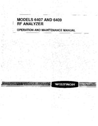 Service et Manuel de l'utilisateur Wiltron 6409