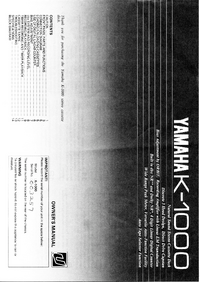User Manual Yamaha K-1000