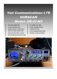 Руководство пользователя Yeti HR-07-NZ