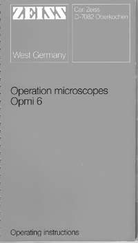 User Manual Zeiss OPMI 6