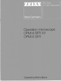 User Manual Zeiss OPMI 6 SFR XY
