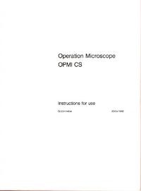 Instrukcja obsługi Zeiss OPMI CS