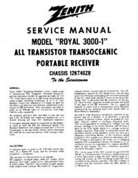 Service Manual Zenith Royal 3000-1
