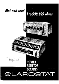 Servicio y Manual del usuario clarostad Power Resistor Decade 240-C